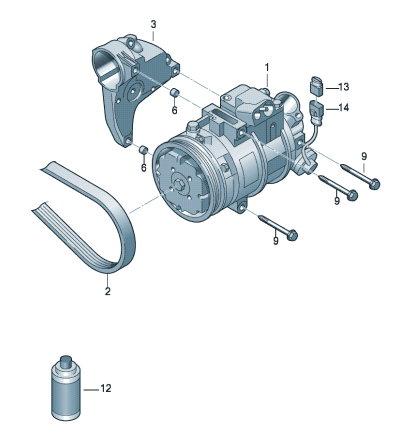 Компрессор климатической установки Skoda Rapid